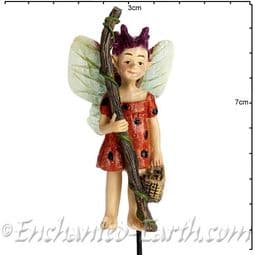 Georgetown - Fiddlehead - Swamp Fairy on a stake - Ladybug- 6cm.