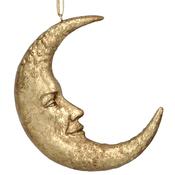 Gisela Graham - Antique Gold Resin Moon Face - 11cm