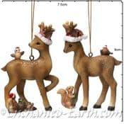 Gisela Graham - Bambi & Freinds  -  Christmas Tree Decorations  - Two to choose from -  9cm