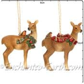 Gisela Graham - Country Deer -  Christmas Tree Decorations  - Two to choose from -  10cm
