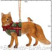Gisela Graham - Pair of Country Foxes -  Christmas Tree Decorations  - 7.5cm