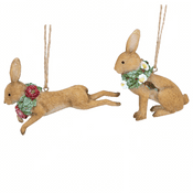 Gisela Graham Pair of Country Hares -  Christmas Tree Decorations  - 8cm