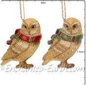 Gisela Graham - Pair of Country Owls -  Christmas Tree Decorations  - 7cm