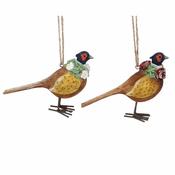 Gisela Graham - Pair of Country Pheasants -  Christmas Tree Decorations  - 8cm