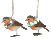Gisela Graham - Pair of Floral Robins -  Christmas Tree Decorations  - 7cm