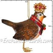 Gisela Graham - Royal Robin with Crown - 8cm