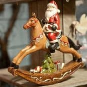 Gisela Graham - Santa on a Vintage Rocking Horse - 24cm
