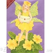 Glitter Wing Flower Fairy Greeting Card (Primrose)