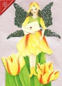 Glitter Wing Flower Fairy Greeting Card (Tulip)