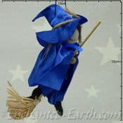 Handmade Rustic - Flying Witch - Brae in Blue - 16cm long