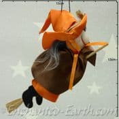 Handmade Rustic - Flying Witch - Oreo in Orange & Brown - 16cm long