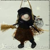 Handmade Rustic - Hanging Witch - Bailey in Black - 12cm