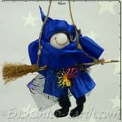 Handmade Rustic - Hanging Witch - Berni in Blue - 12cm