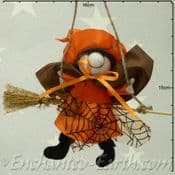 Handmade Rustic - Hanging Witch - Olive in Orange - 12cm