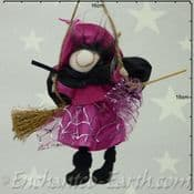 Handmade Rustic - Hanging Witch - Pennie in Pink - 12cm