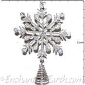 Handmade Silver Metal - Glass Beaded - Snowflake Christmas Tree Topper