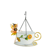 Hanging Metal Fairy Tea Cup Bird Feeder - Honey The Sunflower Fairy