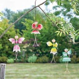 Hanging Metal Pretty Flower Fairies on  Springs - Choose from 5 designs..