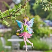 Hanging Metal  Spring Garden Fairy - Daisy-Lou (Green & Pink Dress & Blue Wings)