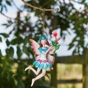 Hanging Metal  Spring Garden Fairy -  Jasmine -Jo (Blue & White dress & Pink Wings)