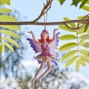 Hanging Metal  Spring Garden Fairy - Rosie-Lee  (Pink dress & Purple Wings)