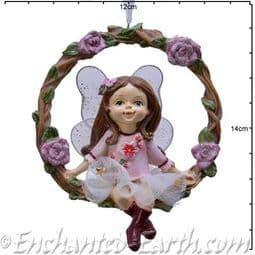 Hanging Wreath Fairy -  Christmas Rose Fairy - 13.5cm.