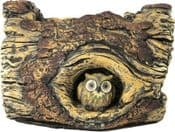Heavy Cement Log  planter with Owl - 23cm