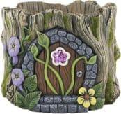 Heavy Cement Plant Pot -Fairy DoorLog planter - Glitter Flower & Vines - 20cm