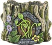 Heavy Cement  Plant Pot -  Fairy Door Log planter - Green Vines - 16.5cm