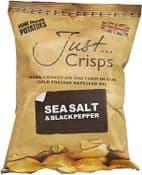 Just Crisps - UK Grown & Made  - Vegan Crisps -  Sea Salt & Black Pepper -  150g Large Bag