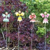 Large 25cm Metal Pretty Flower Fairies on  Stakes - Choose from 4 designs