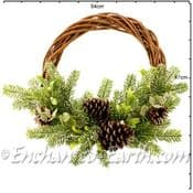 Large 40cm Natural Willow Christmas Wreath - Mid Winter Frost