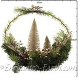 Large 50cm  Golden Winter/Christmas Wreath with Christmas trees & gold foliage