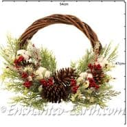 Large 50cm Natural Willow Christmas Wreath - with Cotton Seedheads
