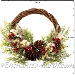 Large 50cm Natural Willow Christmas Wreath - with Cotton Seed heads.