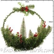 Large 50cm Snowy Winter/Christmas Wreath with Christmas trees & berries
