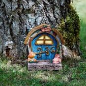 Large Country Cottage Arched Blue Fairy Door with Magnet -18cm