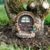Large Country Cottage Round Brown Fairy Door with Magnet -18cm
