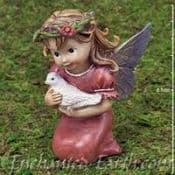 Large Cute  Baby Fairy -  Sitting  fairy with dove - 9cm