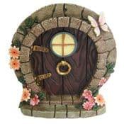 Large Fairy Door/Round Hobbit Door -Flowers & Butterfly - 17cm
