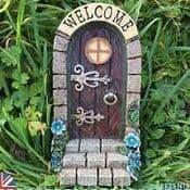 Large Fairy Door- Welcome Door -Flowers & Steps