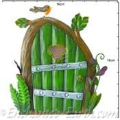 Large Fairy Kingdom Opening Green Metal Pixie Door with little robin - 16cm