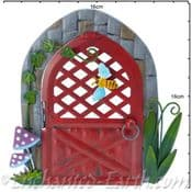 Large Fairy Kingdom Opening Red  Metal Pixie Door with a bee- 16.5cm