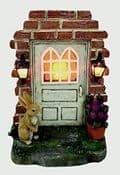 Large  Garden  Solar Fairy Door - with Rabbit & Lanterns & Flowerpots -  19cm