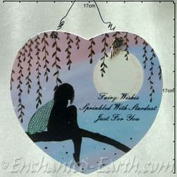 Large heart shaped plaque -Fairy Wishes  -  17cm.