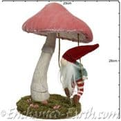 Large Magical Pink Forest Mushroom with  Gnome swinging - 32cm