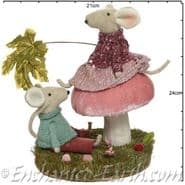 Large Magical Pink Forest Mushroom with Mice - 30cm