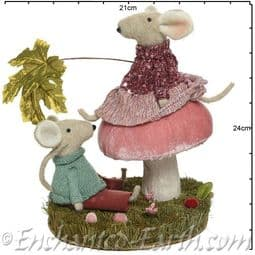Large Magical Pink Forest Mushroom with Mice - 30cm.