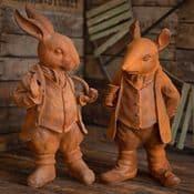 Large Pair of Cast Iron Sculptures -  Mr Ratty & Mr Rabbit