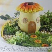 Large Porcelain Sunflower Miniature Garden Fairy House